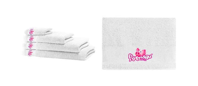 Handtuch und Handtücher mit Logo Firmenlogo Restaurant Hotel bedrucken günstig billig drucken