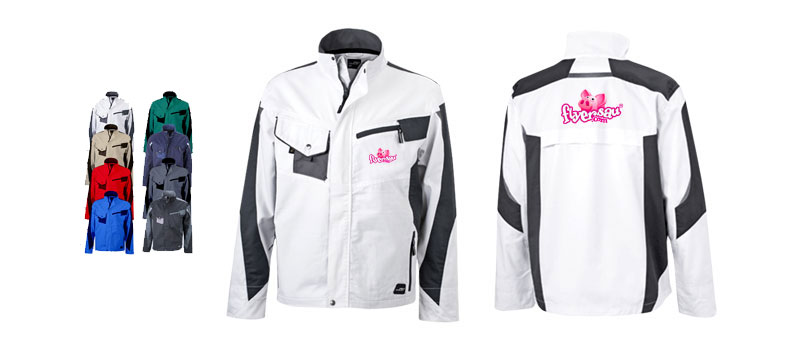 Arbeitsjacke Jacken Arbeiter Hosen Arbeitskleidung mit Logo Firmenlogo Baustelle Handwerk bedrucken günstig billig drucken